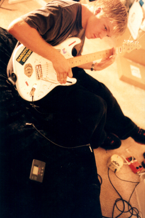 Jason Torens recording guitar